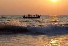 Fishermans met netten Stock Afbeeldingen