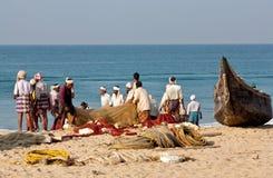 Fishermans mit Netzen Stockfotos