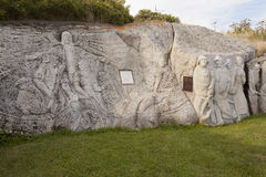 Fishermans Monument sculpture in peggys cove, nova scotia Royalty Free Stock Photos