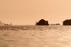 Fishermans paradise. Fishing in the Pine Island sound by the local old time fish houses Stock Photo