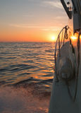 Fishermans view of pink yellow orange sunrise over the Sea of Cortes / Gulf of California Stock Photo
