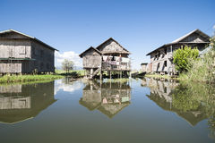 Fishermans village on Lake Inle. Stock Image