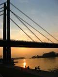 Fishermen. At sunset. Sava river, Belgrade Royalty Free Stock Photography
