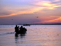 Fishermen. On the down in Amazon river - Brazil Stock Image