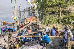 Fishermen aboard Royalty Free Stock Photo