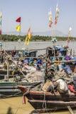 Fishermen aboard Royalty Free Stock Photography