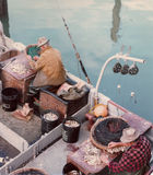 Fishermen Baiting Nets Fisherman's Wharf Stock Photos