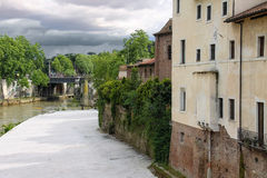 Fishermen on the bank of the river Tiber  in Rome, Italy Stock Photos