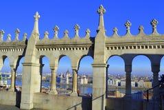Fishermen Bastion arches Budapest view Stock Photos