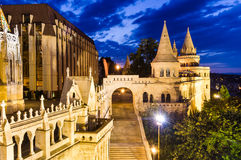 Fishermen Bastion, Budapest, Hungary. Fishermen Bastion with conical towers, built in Neo-Romanesque, at twilight hour, Budapest, Hungary Royalty Free Stock Photo