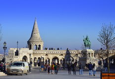 Fishermen Bastion square Budapest Hungary. Picturesque Fishermens Bastion square, Budapest, Hungary. It consists of a meringue-pie arrangement of neo-Romanesque Royalty Free Stock Photos