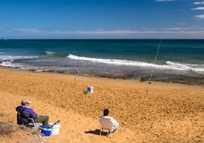 Fishermen on the Beach, Costa Calida, Spain Stock Photo