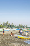 Fishermen on beach in dili east timor Stock Images
