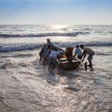 Fishermen on the beach Marina Beach Royalty Free Stock Photo