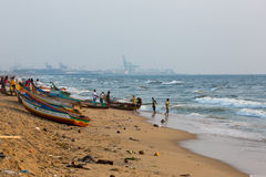 Fishermen on the beach Marina Beach Royalty Free Stock Images
