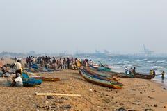 Fishermen on the beach Marina Beach Stock Image
