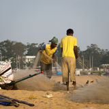 Fishermen on the beach Marina Beach Royalty Free Stock Photography