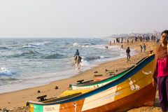 Fishermen on the beach Marina Beach Stock Photos