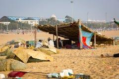 Fishermen on the beach Marina Beach Stock Photo