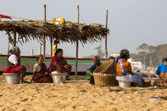 Fishermen on the beach Marina Beach Royalty Free Stock Image