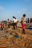 Fishermen on the beach Marina Beach Stock Photography