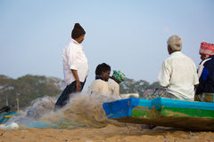 Fishermen on the beach Marina Beach Royalty Free Stock Photos