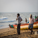 Fishermen on the beach Marina Beach Stock Images