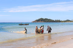 The fishermen on the Bengal bay, Myanmar Stock Photography