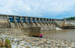 Fishing below the dam on Eufaula Lake in Oklahoma royalty free stock images