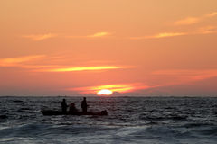 Fishermen on a boat Royalty Free Stock Photography