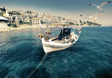 Fishermen boat in Chalkidiki Stock Photo