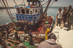 Fishermen at boat Royalty Free Stock Photos