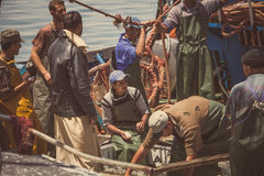 Fishermen at boat Royalty Free Stock Image