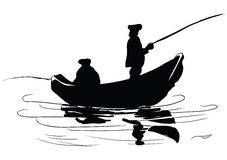 Fishermen in a boat. Fishing from a boat. Drawing made ​​by hand. Vector illustration Royalty Free Stock Photo