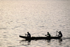 Fishermen in a boat Royalty Free Stock Photography