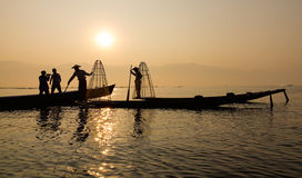 Fishermen on the boat in Inle, Myanmar Royalty Free Stock Photography