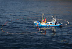 Fishermen in a boat, Lanzarote Stock Photography