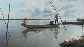Fishermen, boat, mekong, cambodia, southeast asia stock video