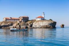 Fishermen in boat near Saint Anastasia Island Stock Images