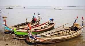 Fishermen Boat On Ayeyarwaddy River In Myanmar