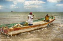 Fishermen in boat, Progreso, Yucatan, Mexico Royalty Free Stock Photography