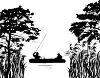 Fishermen in boat silhouette between trees Royalty Free Stock Images