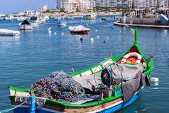 Fishermen boat in Spinola bay at Malta close up Royalty Free Stock Photography