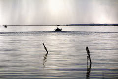 Fishermen Boat Sunset Lagoon Stock Photo