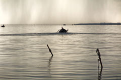 Fishermen Boat Sunset Lagoon Royalty Free Stock Images