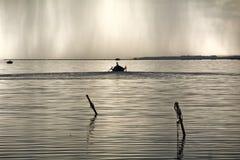 Fishermen Boat Sunset Lagoon Royalty Free Stock Photo