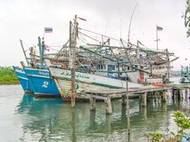 Fishermen boats around Phang Nga Bay, Thailand royalty free stock photography
