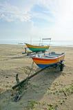 Fishermen boats at the beach Stock Photo