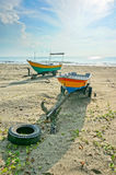 Fishermen boats at the beach Stock Images