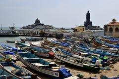Fishermen boats on the beach in Kanyakumari stock photography